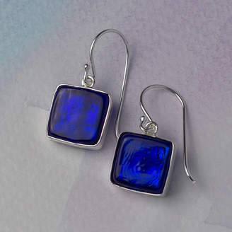 Murano Claudette Worters Glass Square Drop Silver Earrings