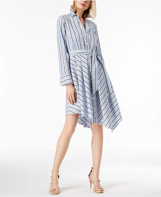 INC International Concepts I.N.C. Belted Asymmetrical-Hem Shirtdress, Created for Macy's