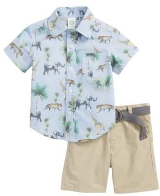Little Me Safari Woven Shirt & Shorts Set