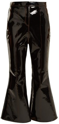 Ellery Outlaw Kick Flare Cropped Patent Trousers - Womens - Black