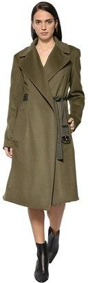 Sportmax Brushed Wool Coat With Belt