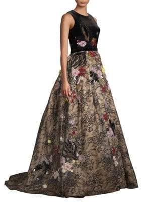 Basix II Black Label Floral Floor-Length Gown