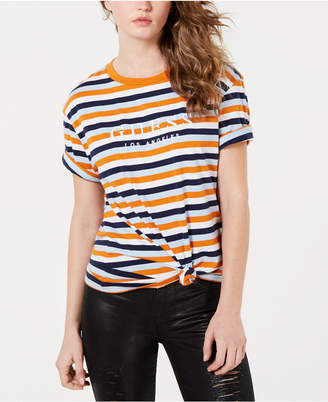 GUESS Cotton Striped Logo T-Shirt