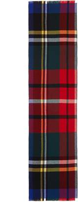 Johnstons of Elgin Tartan plaid reversible Merino wool-cashmere scarf