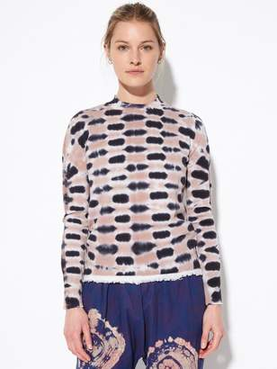 Raquel Allegra Checkered Tie Dye Cotton Cashmere Sweater