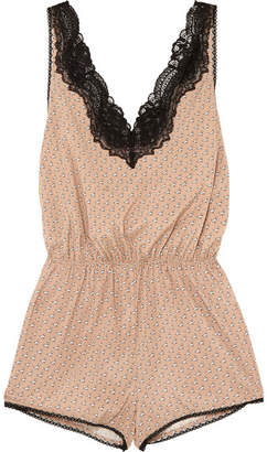 Stella McCartney Poppy Snoozing Lace-trimmed Printed Stretch Silk-satin Playsuit - Neutral