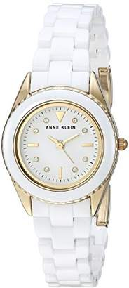 Anne Klein Women's AK/3164WTGB Swarovski Crystal Accented Gold-Tone and White Ceramic Bracelet Watch
