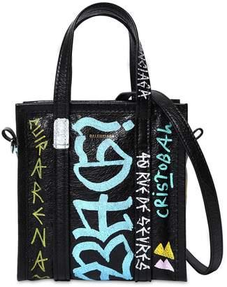 Balenciaga Xxs Bazar Graffiti Leather Tote Bag