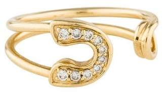 Sydney Evan 14K Diamond Safety Pin Ring