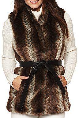 Liz Claiborne Sleeveless Faux Fur Vest