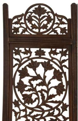 "DecMode 80"" x 72"" Large 4-Panel Dark Brown Wood Screen Decorative Room Divider"