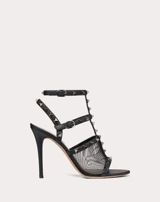 Valentino Garavani Rockstud Mesh Ankle Strap Sandal 105 Mm Women Black 100% Pelle Di Vitello - Bos Taurus 39