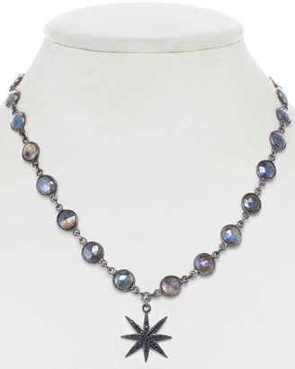 Rachel Reinhardt Gunmetal Plated Labradorite & Cz Star Necklace