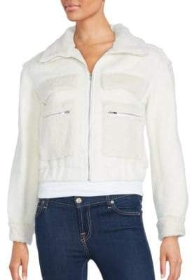 Diane von Furstenberg Rabbit Fur-Trim Bomber Jacket