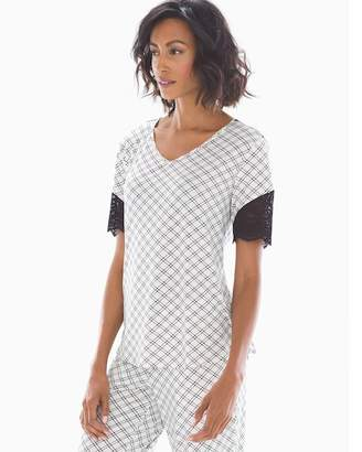 Cool Nights Short Sleeve Lace Trim Pajama Top Weekend Plaid Ivory