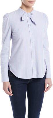 Veronica Beard Dunbar Striped Tie-Neck Button-Front Shirt