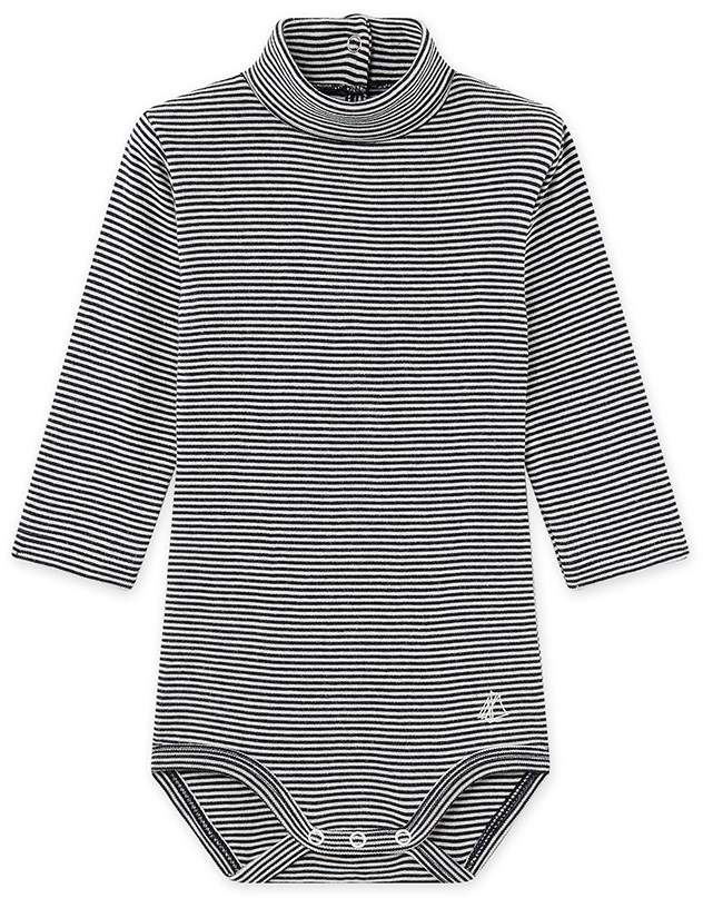 Petit Bateau MIXED BABY'S ROLL NECK STRIPED ONESIE