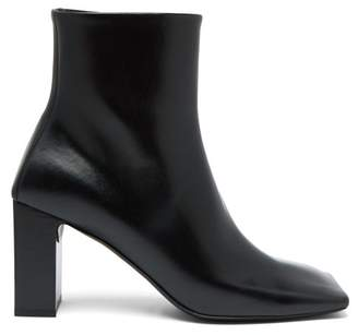 a9b22af1e14 Balenciaga Double Square Block Heel Leather Boots - Womens - Black