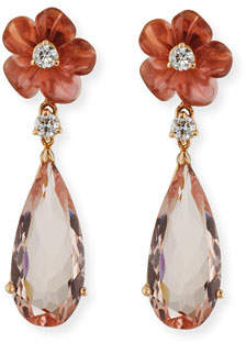 Rina Limor Fine Jewelry Pink Tourmaline Flower & Morganite Drop Earrings with Diamonds