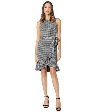 Calvin Klein Gingham Ruffle Hem Dress with Self Tie