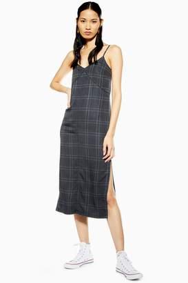 2727aae82a81 Topshop Womens Check Denim Midi Dress - Black