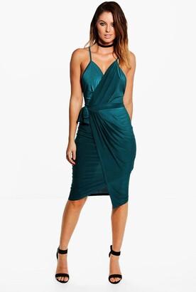 boohoo Wrap Over Exposed Side Detail Slinky Midi Dress