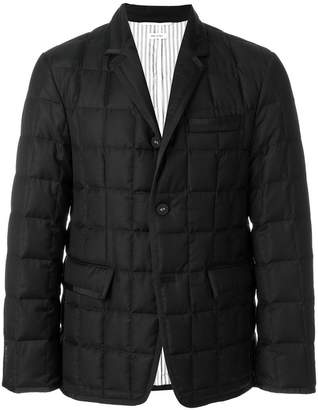 Thom Browne Downfilled Classic Single Breasted Sport Coat With Grosgrain Tipping In Black Super 130's Wool Twill