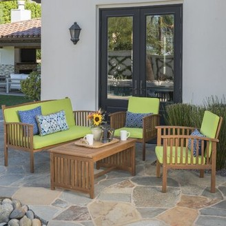 Beachcrest Home Safira 4 Piece Sofa Seating Group with Cushions