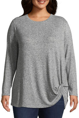 Boutique + + Brushed Knit Long Sleeve Side-Knot Top - Plus