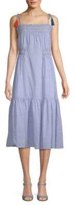 Red Carter Ayala Smocked Cotton A-Line Midi Dress