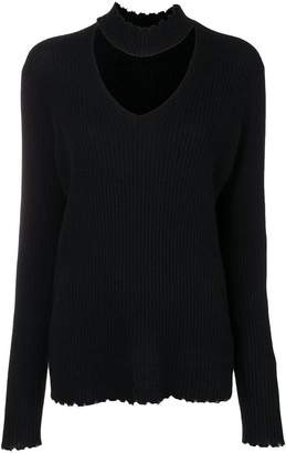 R 13 choker detail V-neck jumper
