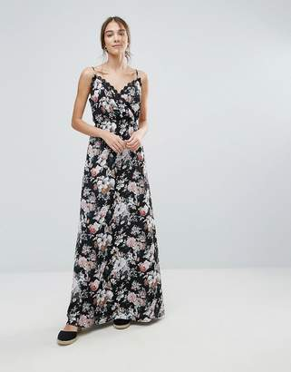 Yumi Floral Print Maxi Dress With Lace Trim