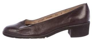 Salvatore Ferragamo Leather Round-Toe Flats