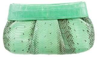 Nancy Gonzalez Crocodile-Trimmed Snakeskin Clutch