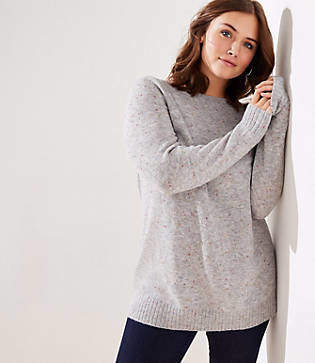 LOFT Plus Speckled Boatneck Tunic Sweater
