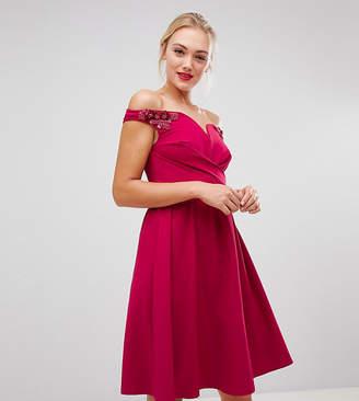 Little Mistress Tall bardot embellished shoulder skater dress in berry