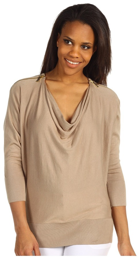 MICHAEL Michael Kors Cowl Neck Zip Shoulder Sweater (Khaki) - Apparel