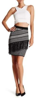 Romeo & Juliet Couture Patterned Knit Fringe Pencil Skirt