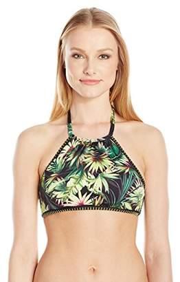 Lucky Brand Junior's Coastal Palms High Neck Bikini Top