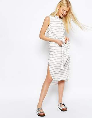 Asos DESIGN Tie Front Sleeveless Shirt Dress In Stripe
