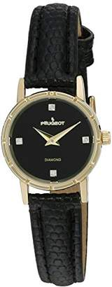 Peugeot Women's 3050BK 14K Gold Plated Genuine Diamond Marker Face Leather Dress Analog Display Analog Quartz Watch