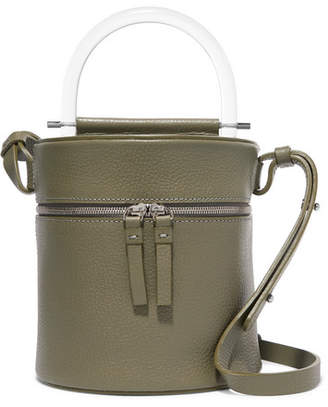 Building Block Drum Textured-leather Shoulder Bag - Army green