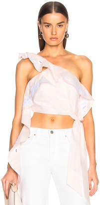 Jonathan Simkhai Scallop Cropped Bustier Top in White & Powder Pink | FWRD