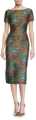 Zac Posen Wildflower Jacquard Short-Sleeve Sheath Dress