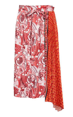 Dondup Printed Asymmetric Pleat Skirt