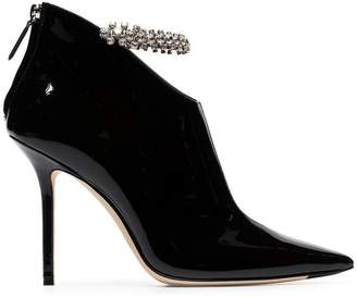 Jimmy Choo black Blaize 100 crystal anklet patent leather boots