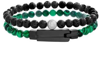 Steve Madden Malachite & Lava Stone Duo Beaded 2-Piece Bracelet Set