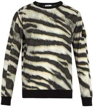 Stone Island - Tiger Print Cotton Jersey Sweatshirt - Mens - Beige