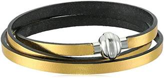Color Leather and Stainless Steel Magnetic Clasp Wrap Bracelet