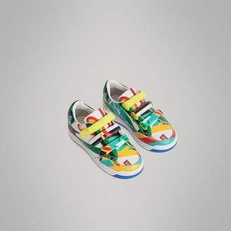 Burberry Graphic Print Leather Sneakers